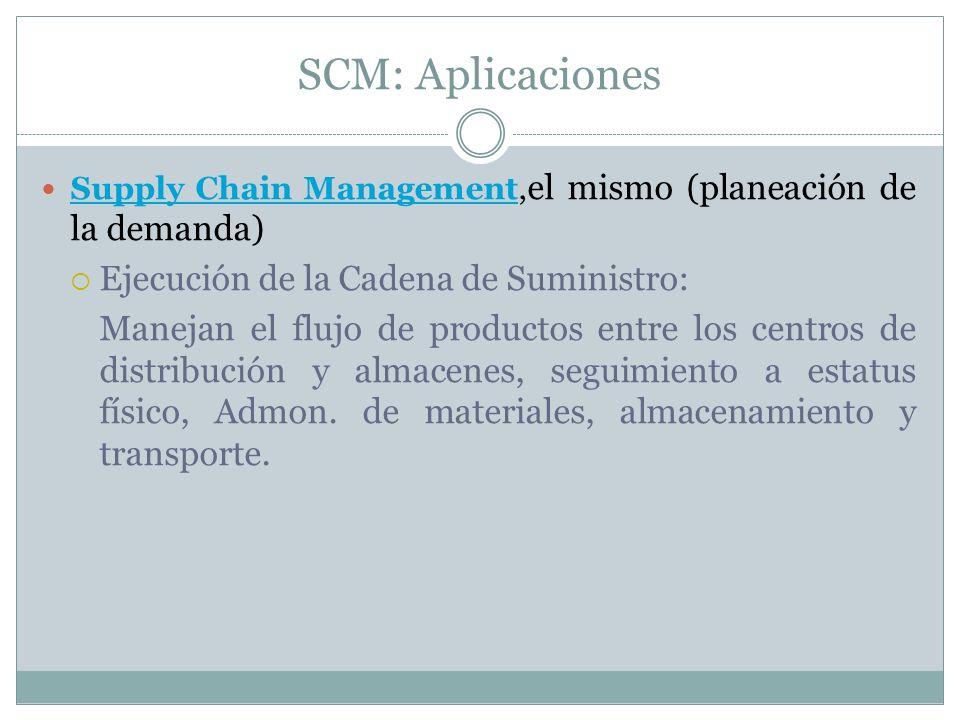 SCM: Aplicaciones Ejecución de la Cadena de Suministro: