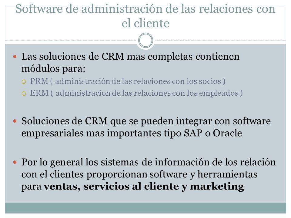 Software de administración de las relaciones con el cliente