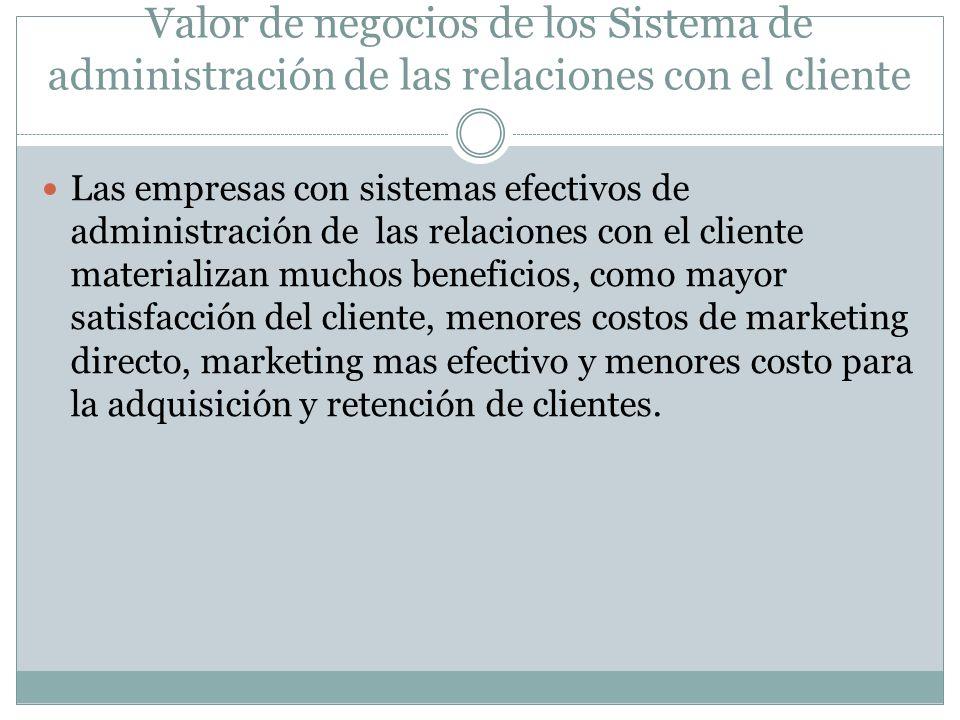 Valor de negocios de los Sistema de administración de las relaciones con el cliente