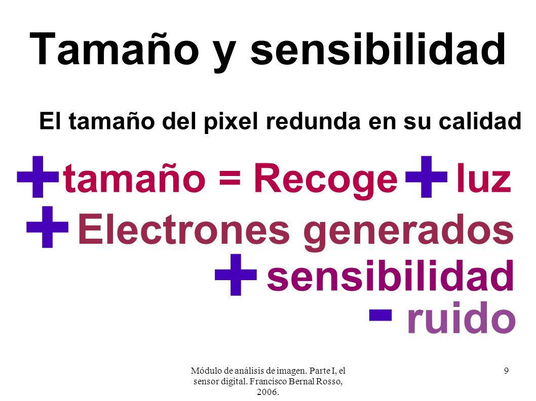 + + + + - Tamaño y sensibilidad ruido sensibilidad