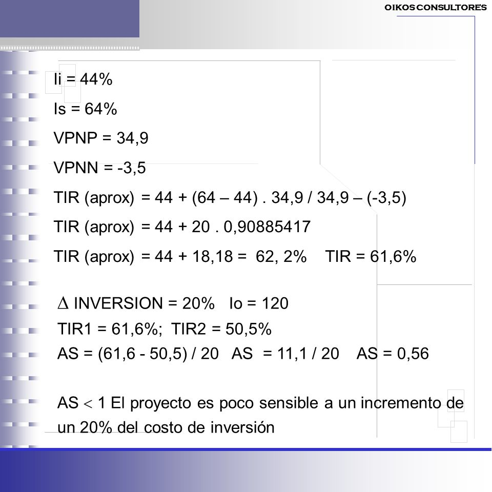  INVERSION = 20% Io = 120 Ii = 44% Is = 64% VPNP = 34,9 VPNN = -3,5