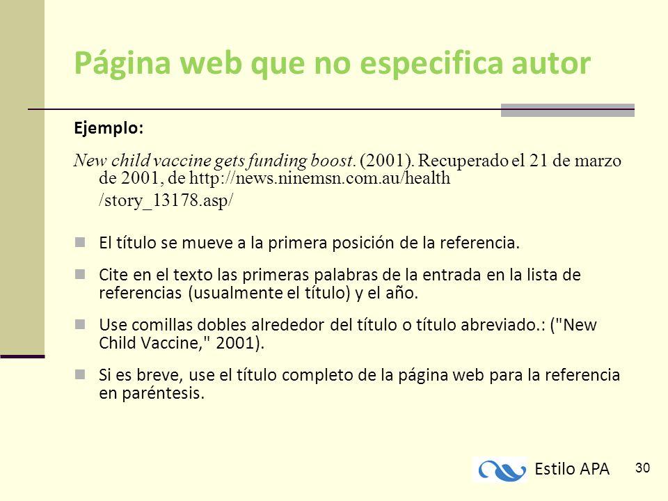 Paginas Web Citas Bibliograficas