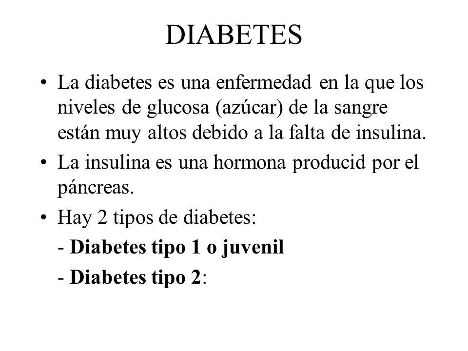 DIABETES La diabetes es una enfermedad en la que los niveles de glucosa (azúcar) de la sangre están muy altos debido a la falta de insulina.