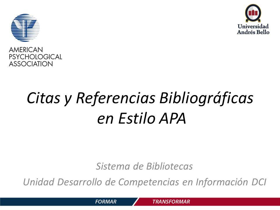 Citas Y Referencias Bibliográficas En Estilo Apa