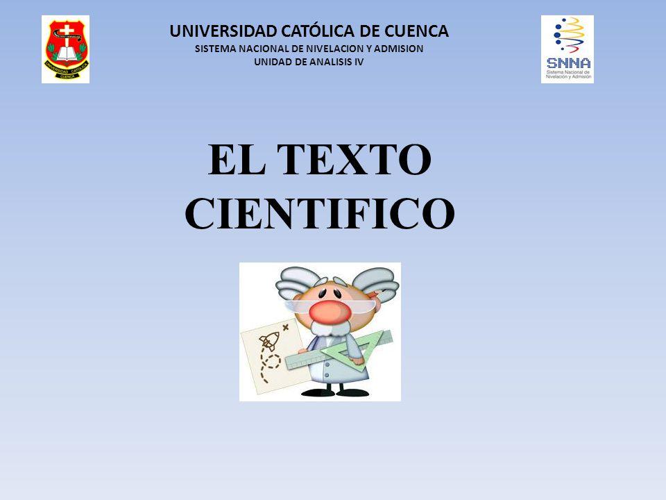 EL TEXTO CIENTIFICO UNIVERSIDAD CATÓLICA DE CUENCA