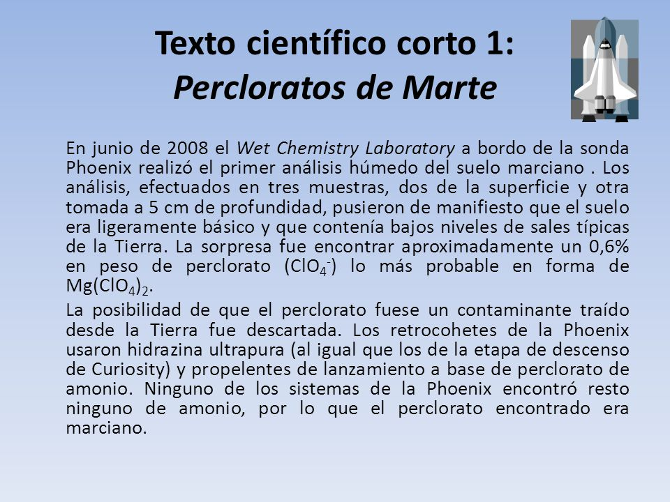 Texto científico corto 1: Percloratos de Marte