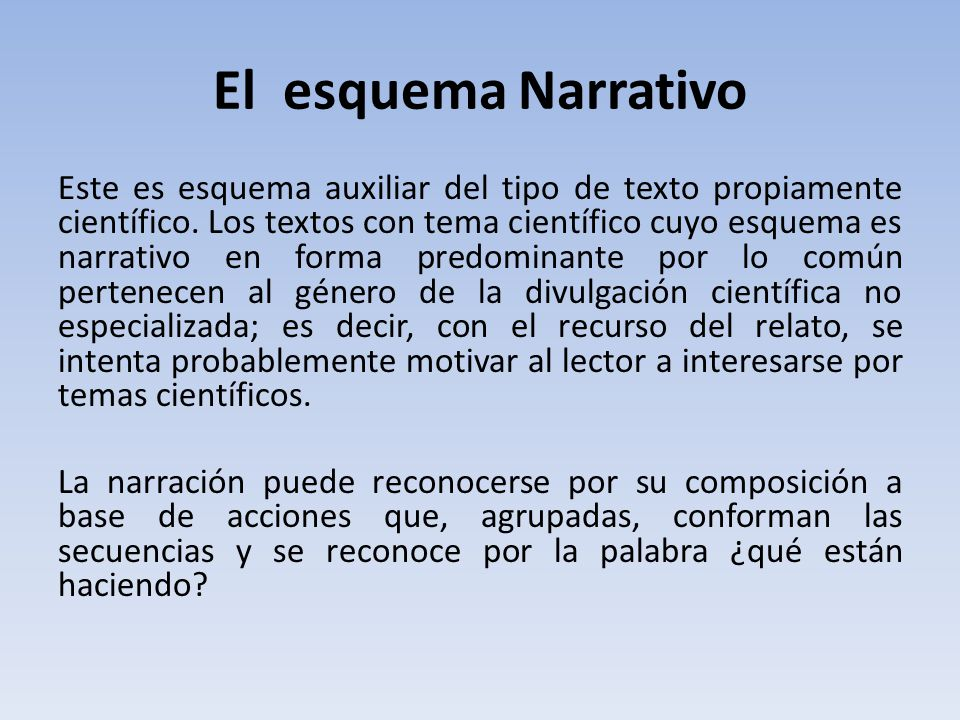 El esquema Narrativo