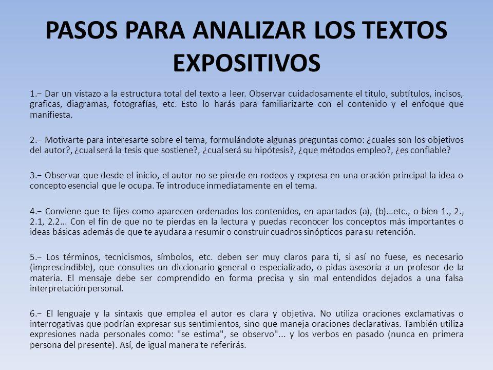 PASOS PARA ANALIZAR LOS TEXTOS EXPOSITIVOS