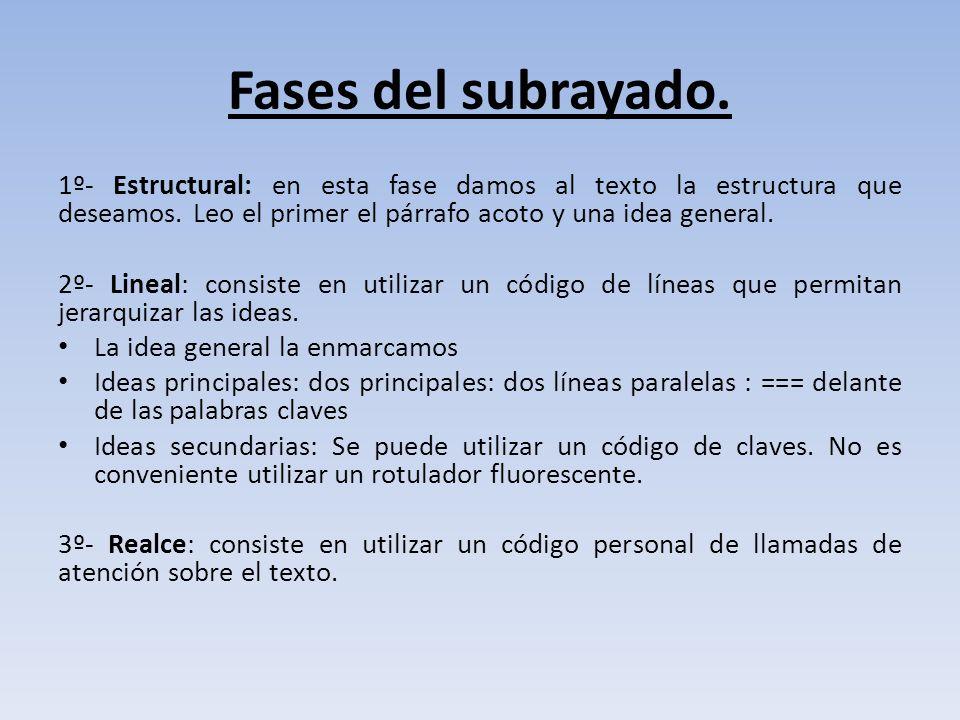 Fases del subrayado. 1º- Estructural: en esta fase damos al texto la estructura que deseamos. Leo el primer el párrafo acoto y una idea general.