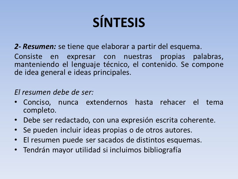 SÍNTESIS 2- Resumen: se tiene que elaborar a partir del esquema.