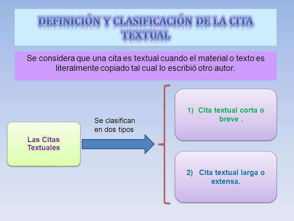 DEFINICIÓN Y CLASIFICACIÓN DE LA CITA TEXTUAL