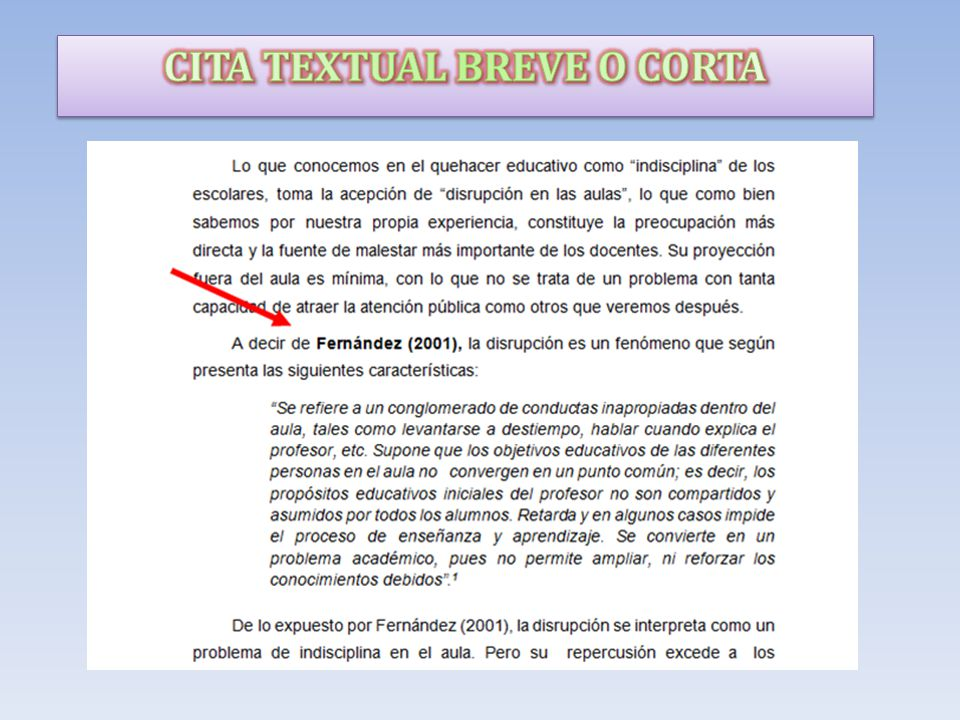 CITA TEXTUAL BREVE O CORTA