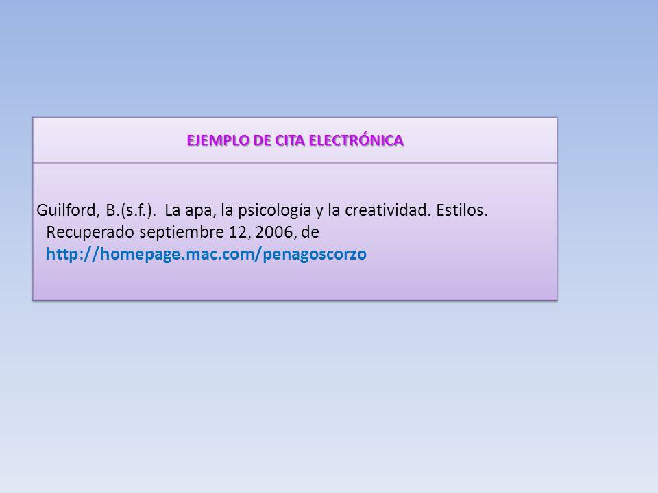 EJEMPLO DE CITA ELECTRÓNICA