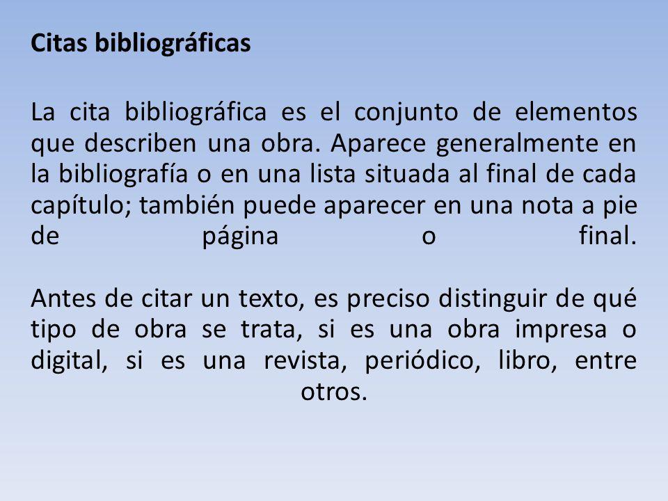 Citas bibliográficas