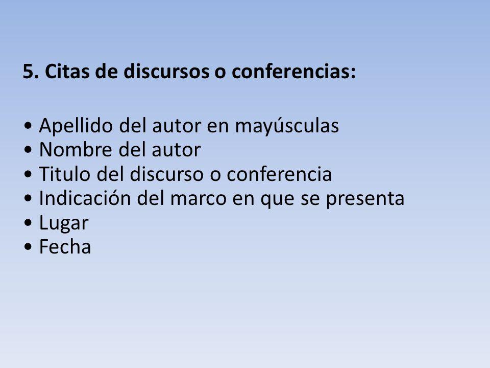 5. Citas de discursos o conferencias: