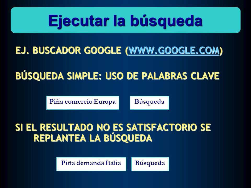 Ejecutar la búsqueda EJ. BUSCADOR GOOGLE (WWW.GOOGLE.COM)
