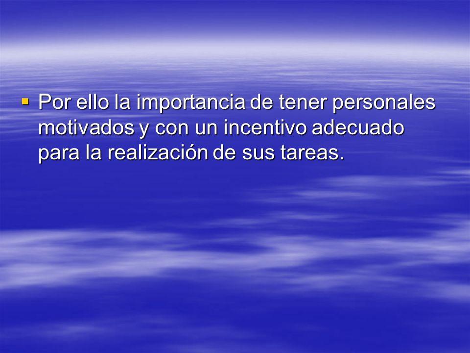 Por ello la importancia de tener personales motivados y con un incentivo adecuado para la realización de sus tareas.