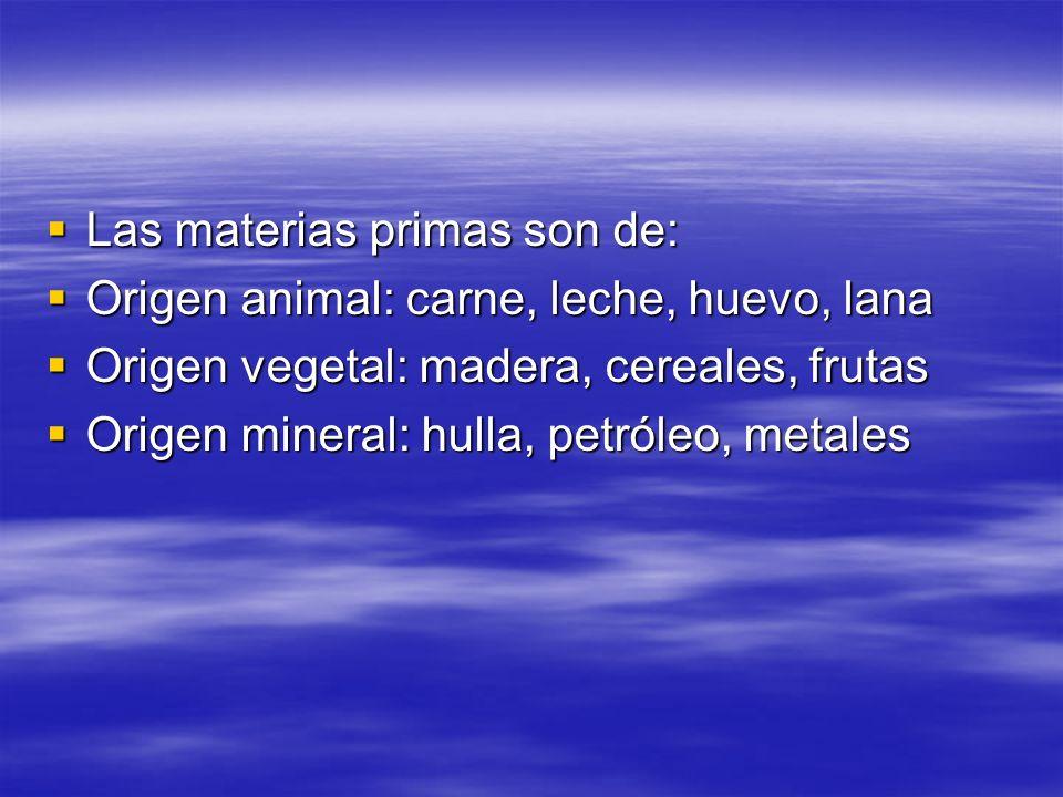 Las materias primas son de: