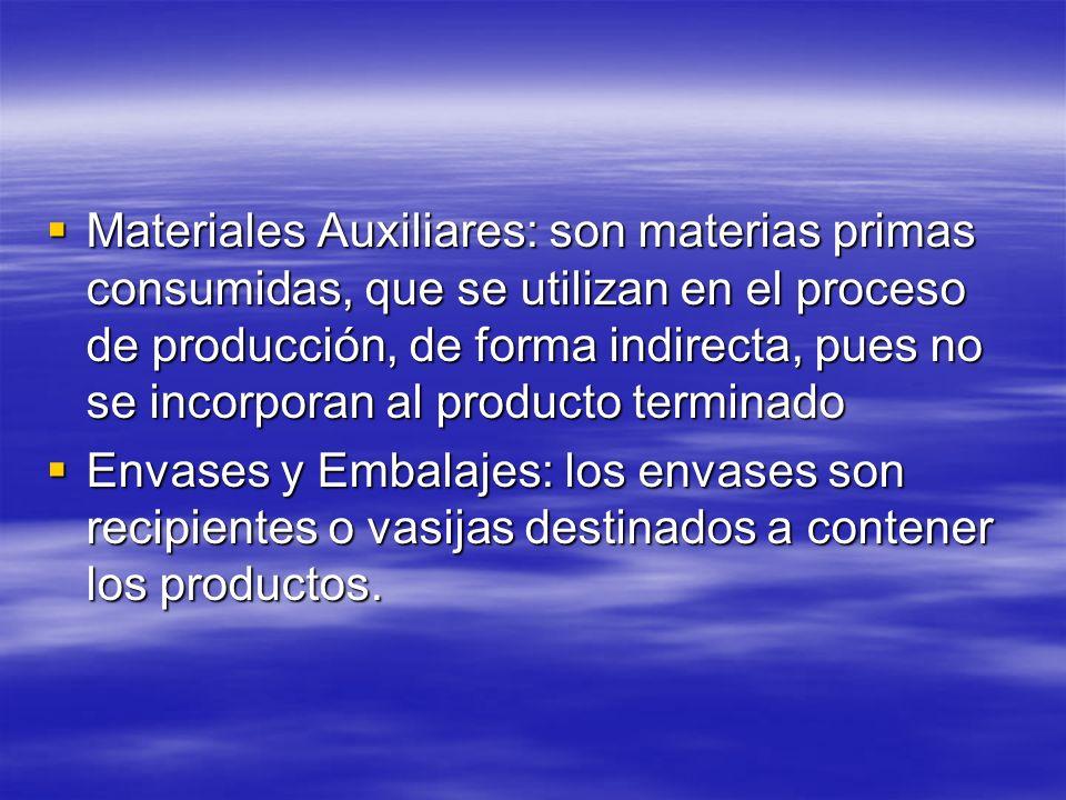 Materiales Auxiliares: son materias primas consumidas, que se utilizan en el proceso de producción, de forma indirecta, pues no se incorporan al producto terminado