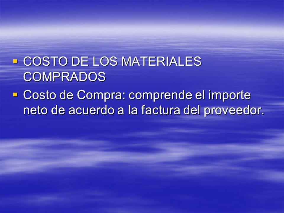 COSTO DE LOS MATERIALES COMPRADOS