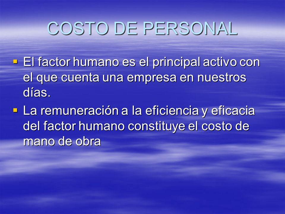 COSTO DE PERSONAL El factor humano es el principal activo con el que cuenta una empresa en nuestros días.