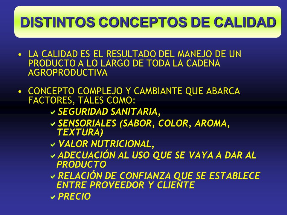 DISTINTOS CONCEPTOS DE CALIDAD