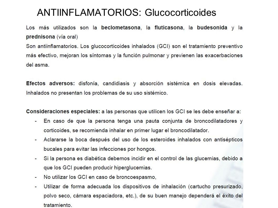 ANTIINFLAMATORIOS: Glucocorticoides