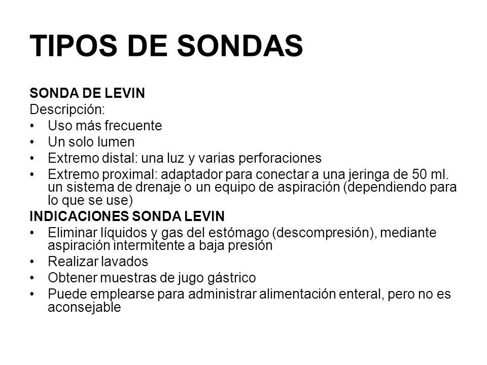 TIPOS DE SONDAS SONDA DE LEVIN Descripción: Uso más frecuente