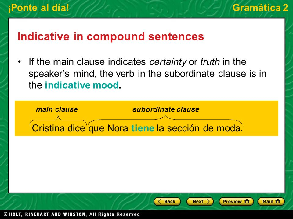 Indicative in compound sentences