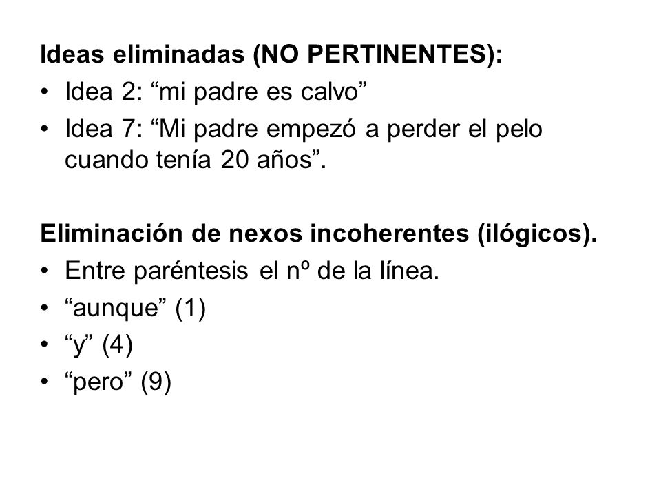 Ideas eliminadas (NO PERTINENTES):