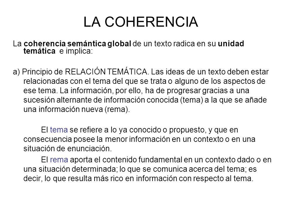 LA COHERENCIA La coherencia semántica global de un texto radica en su unidad temática e implica: