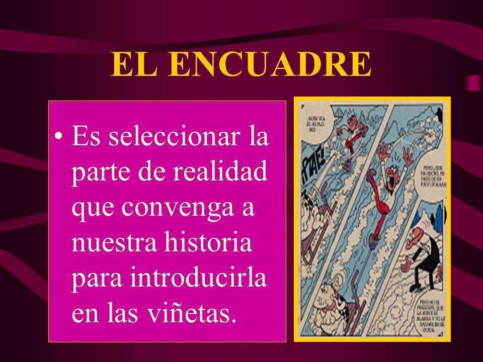 EL ENCUADRE Es seleccionar la parte de realidad que convenga a nuestra historia para introducirla en las viñetas.