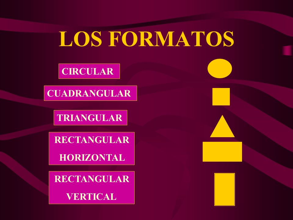 LOS FORMATOS CIRCULAR CUADRANGULAR TRIANGULAR RECTANGULAR HORIZONTAL