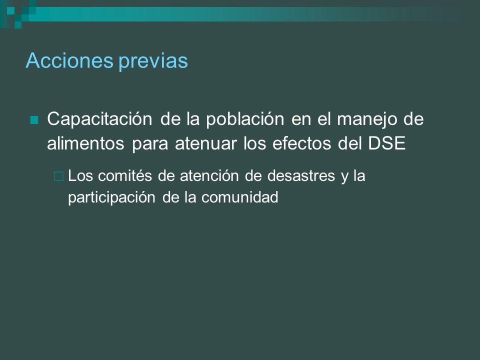 Acciones previas Capacitación de la población en el manejo de alimentos para atenuar los efectos del DSE.
