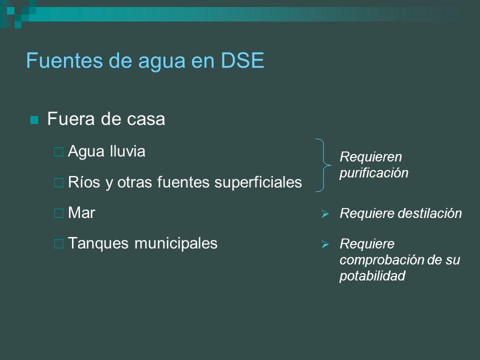 Fuentes de agua en DSE Fuera de casa Agua lluvia