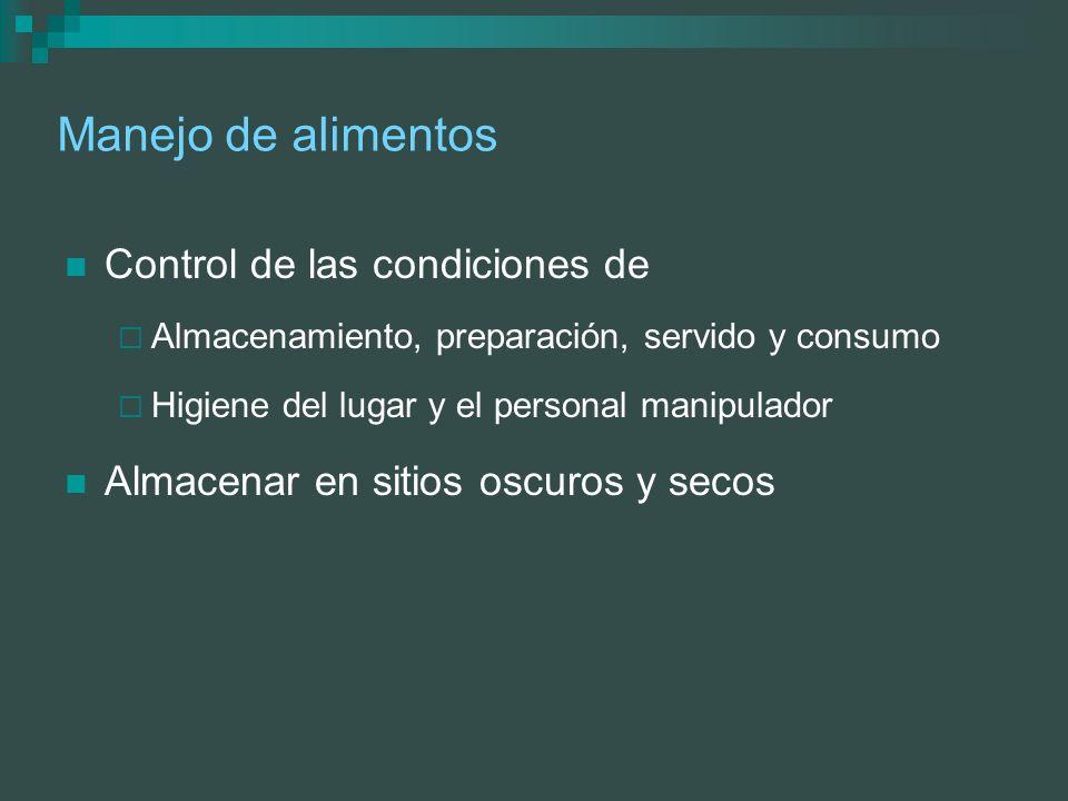 Manejo de alimentos Control de las condiciones de