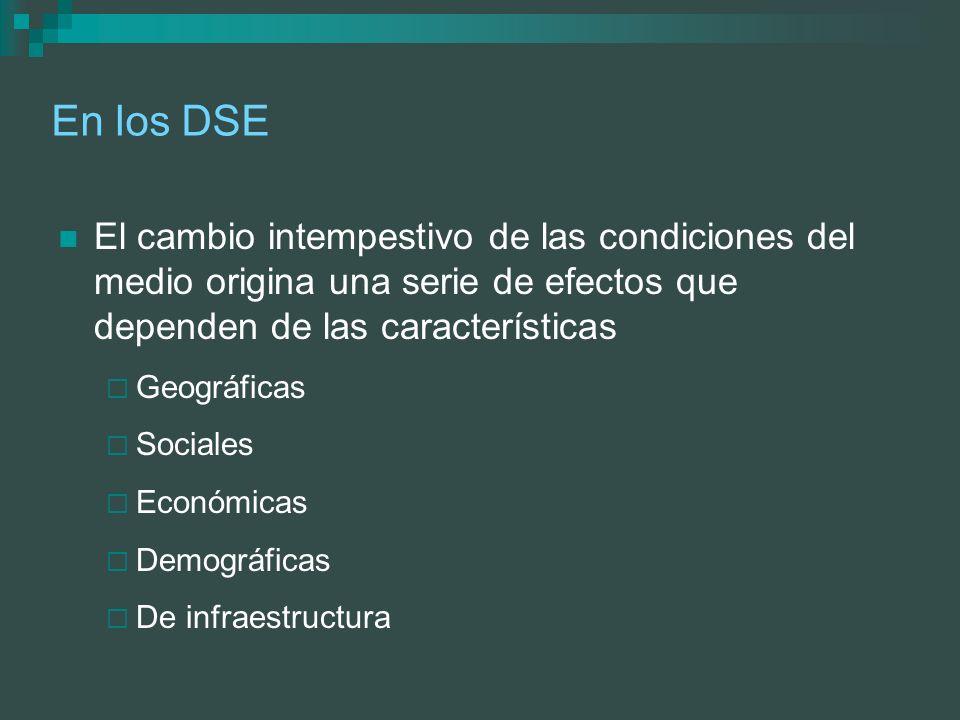 En los DSE El cambio intempestivo de las condiciones del medio origina una serie de efectos que dependen de las características.