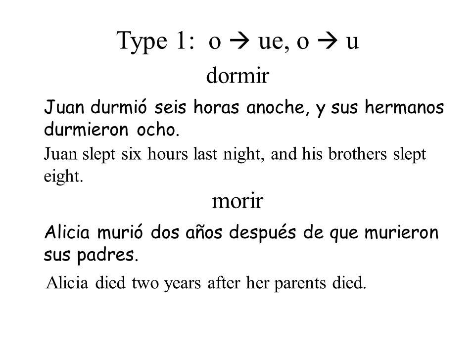 Type 1: o  ue, o  u dormir morir