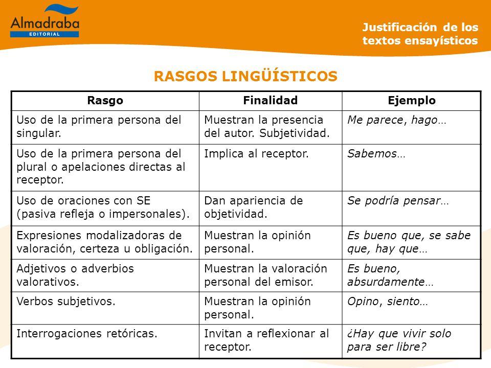 RASGOS LINGÜÍSTICOS Justificación de los textos ensayísticos Rasgo