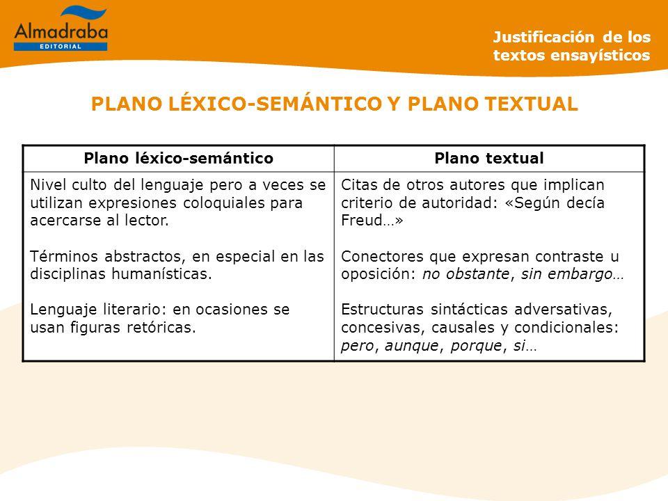 PLANO LÉXICO-SEMÁNTICO Y PLANO TEXTUAL