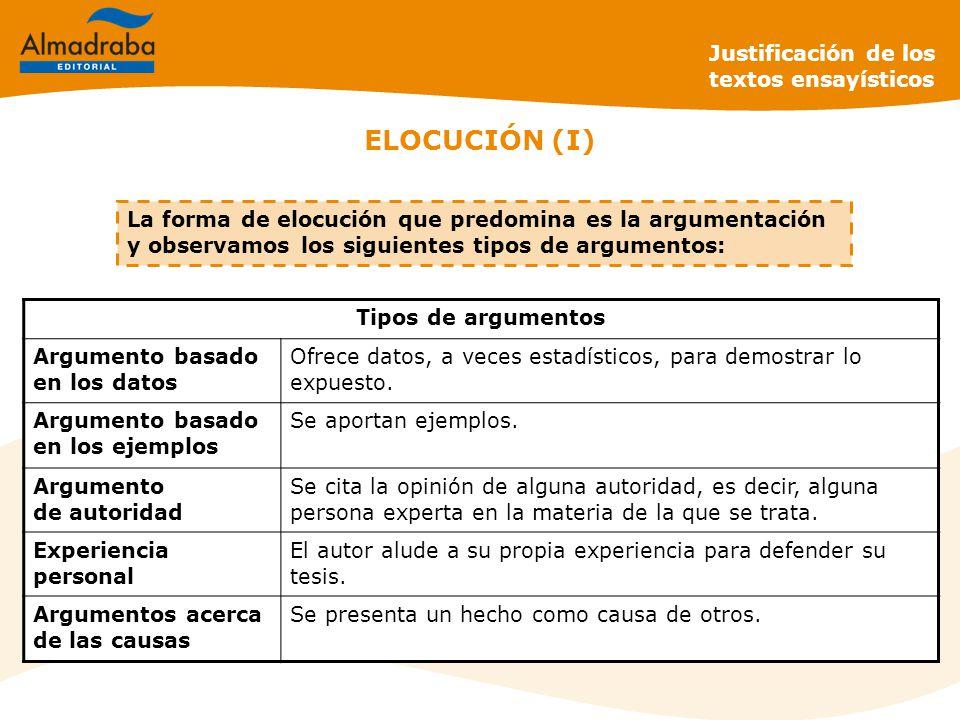 ELOCUCIÓN (I) Justificación de los textos ensayísticos