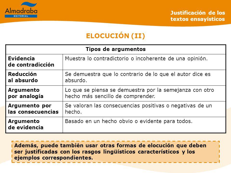 ELOCUCIÓN (II) Justificación de los textos ensayísticos