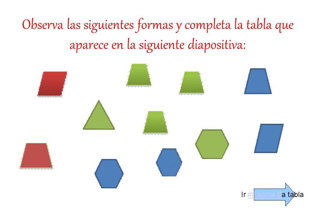 Observa las siguientes formas y completa la tabla que aparece en la siguiente diapositiva: