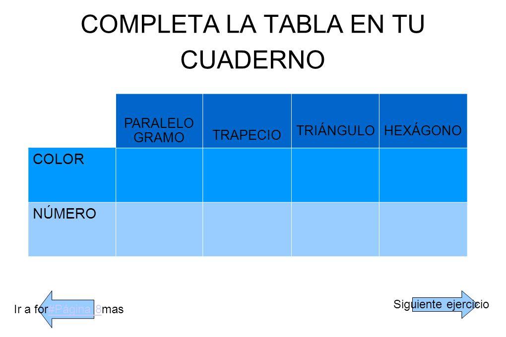 COMPLETA LA TABLA EN TU CUADERNO