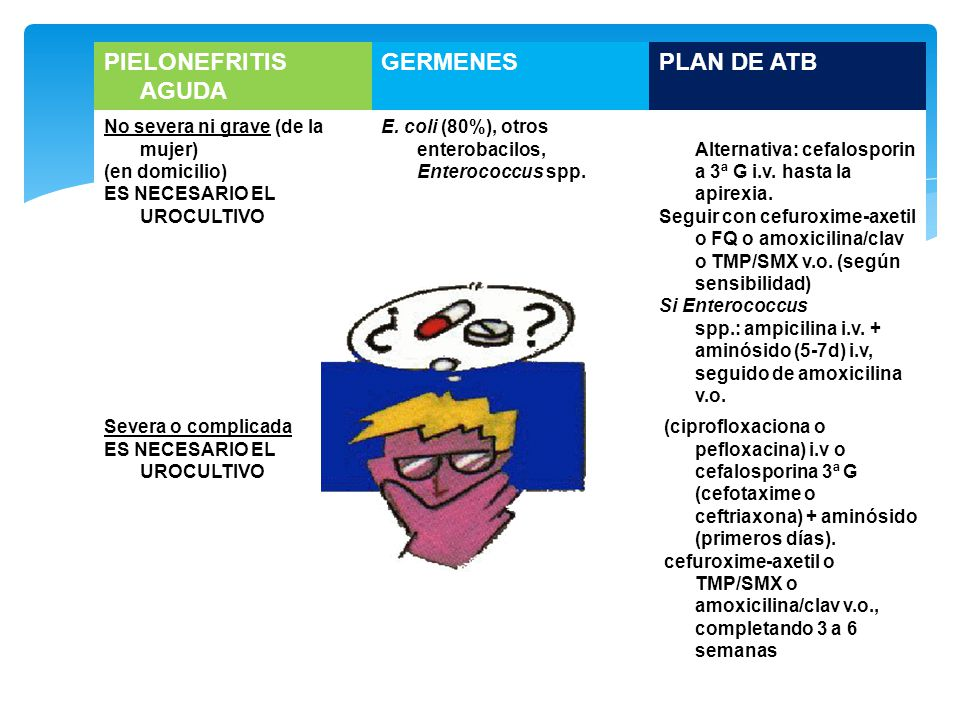 PIELONEFRITIS AGUDA GERMENES PLAN DE ATB