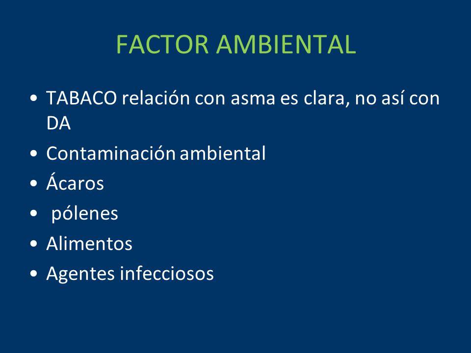 FACTOR AMBIENTAL TABACO relación con asma es clara, no así con DA
