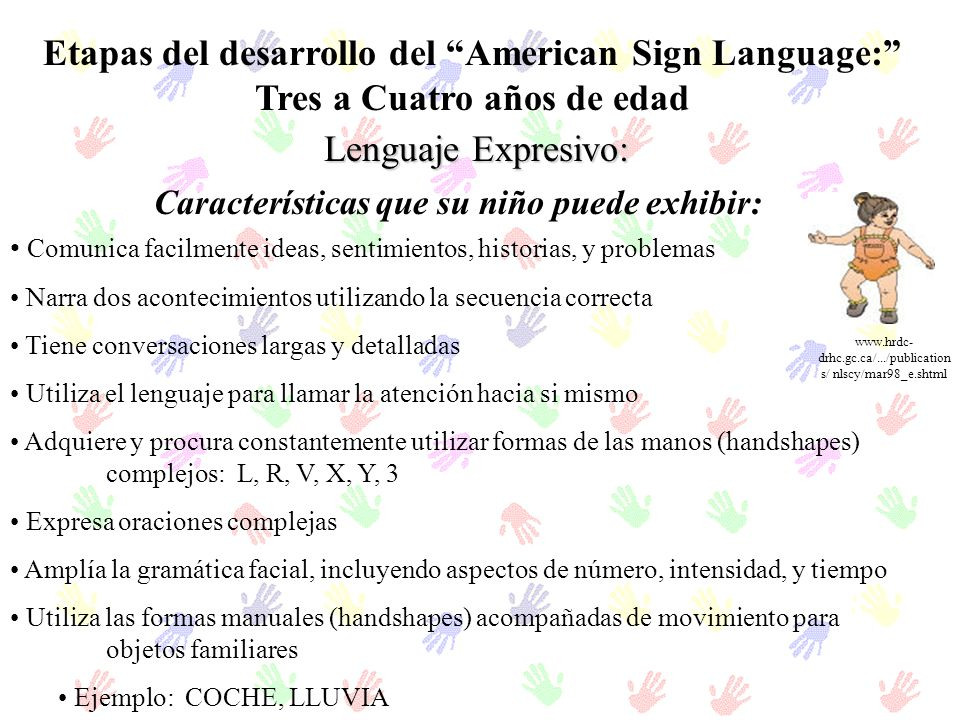 Etapas del desarrollo del American Sign Language: