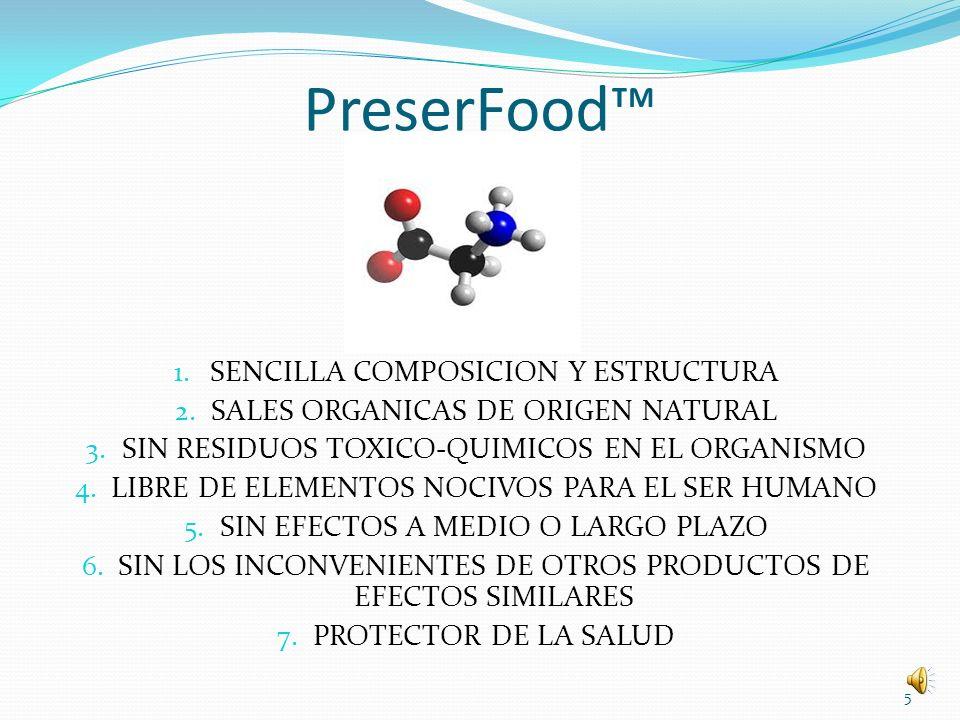 PreserFood™ SENCILLA COMPOSICION Y ESTRUCTURA
