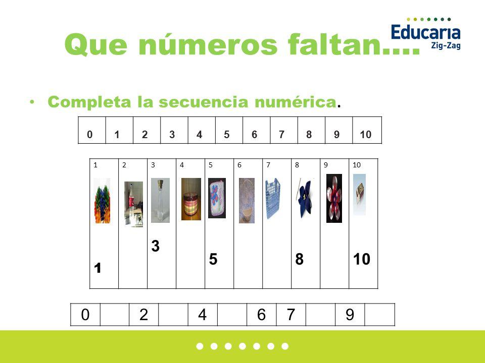 Que números faltan…. Completa la secuencia numérica. 2 4 6 7 9 1 2 3 4