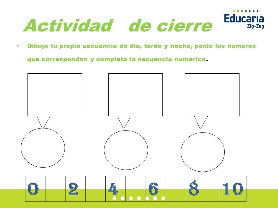 Actividad de cierre Dibuja tu propia secuencia de día, tarde y noche, ponle los números que correspondan y completa la secuencia numérica.